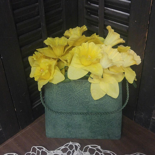 Metal Wall Pocket with Daffodils