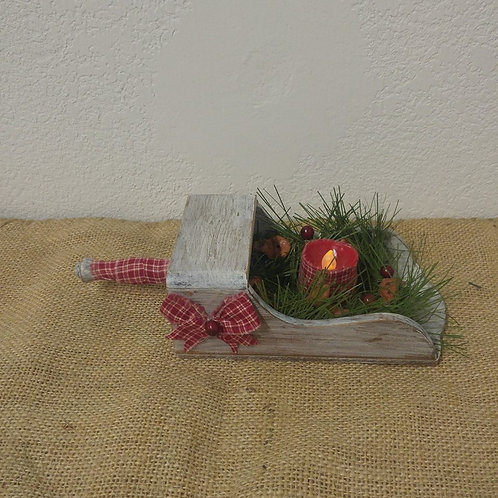 Wood Scoop with Battery Operated Candle
