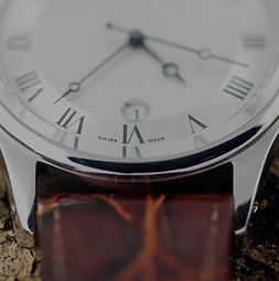 Close Up of Luxury Swiss Leather Watch