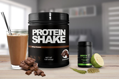 Zero-Sugar Chocolate Protein Powder with Skinny Weight Loss Supplement