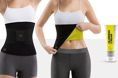 Waist Trimmer with Waist Trainer Band and Fat Burning Cream (4 oz)