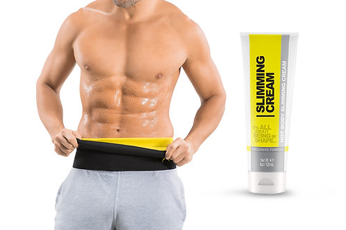 Men's Sweat Belt Ab Stimulator and Slimming Cream (4 oz) for Home Workouts