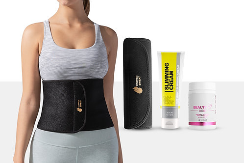 Waist Trimmer Belt with Fat Burning Cream and Collagen Supplement