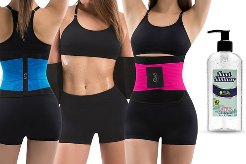 Waist Trainer Belt for Home Workout with Antibacterial Hand Sanitizer (8 oz)