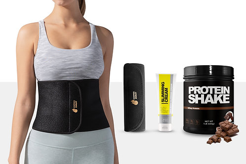Thermal Waist Trimmer with Sweat Cream (4 Oz) and Delicious Whey Protein