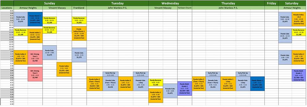 Class Schedule 2019 - 2020 - August 2019