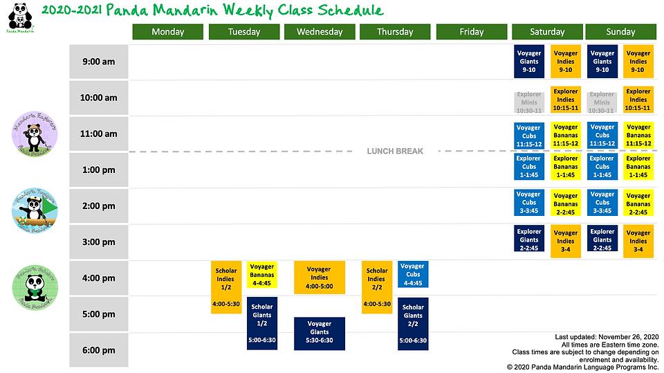 2020-2021 School Year Programs & Calenda