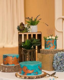 Copper Patina Wedding Cake Trio