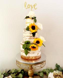 Naked Sunflower 3 Tier Cake