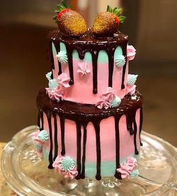 Watercolor Choc Covered Strawberries Drip Cake