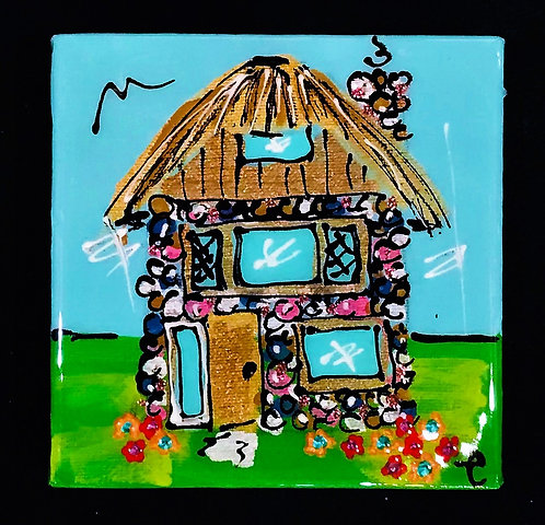 """4""""x4"""" """"Chalet"""" painting"""