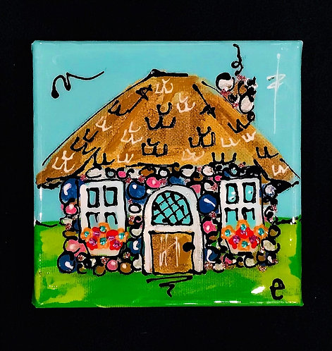 "4""x4"" ""White Christmas"" cottage painting"