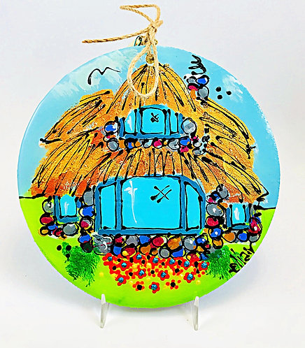 """Thatch Roof House"" 6"" dia. Ornament"