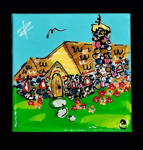 "4""x4"" ""Abide House"" Mushroom House painting"