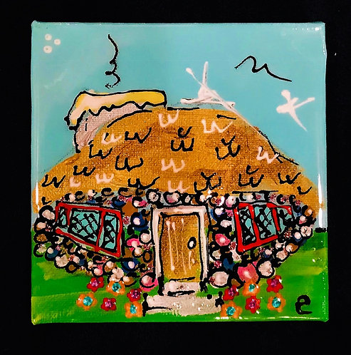 "4""x4"" ""Boulderdash"" Mushroom House painting"