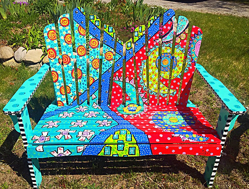 Hand painted wooden bench