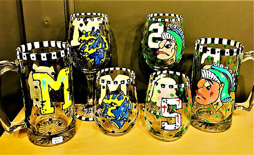 """""""Go Team Go"""" Hand Painted Glasses"""