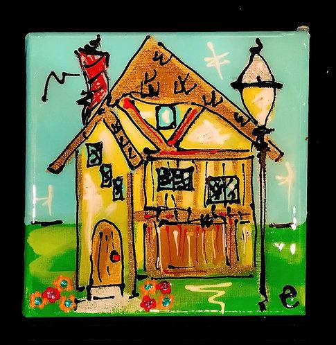 "4""x4"" ""Applecore"" Mushroom House Painting"