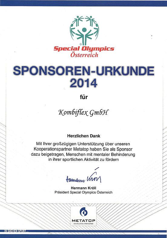 Urkunde Special Olympics