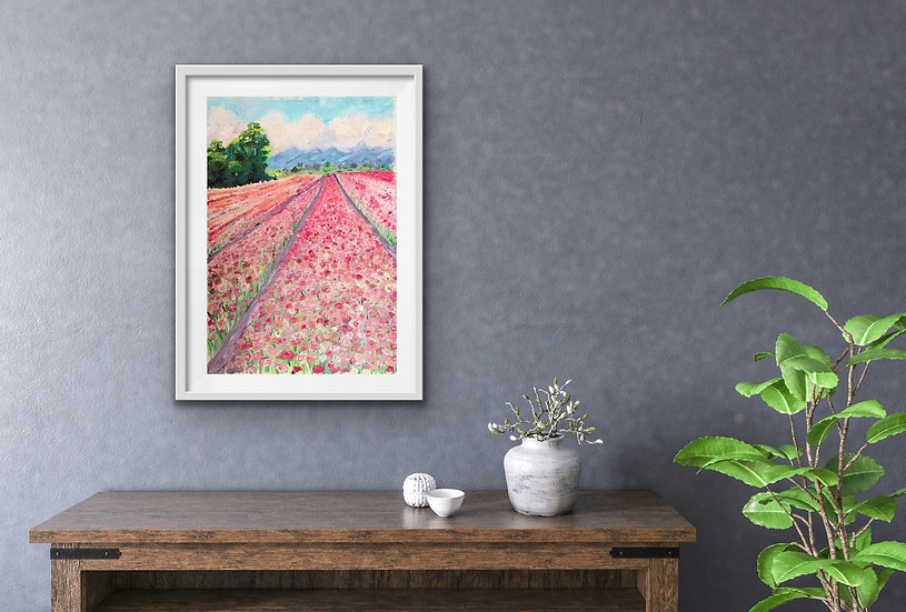 Giclee print Pink flower fields.
