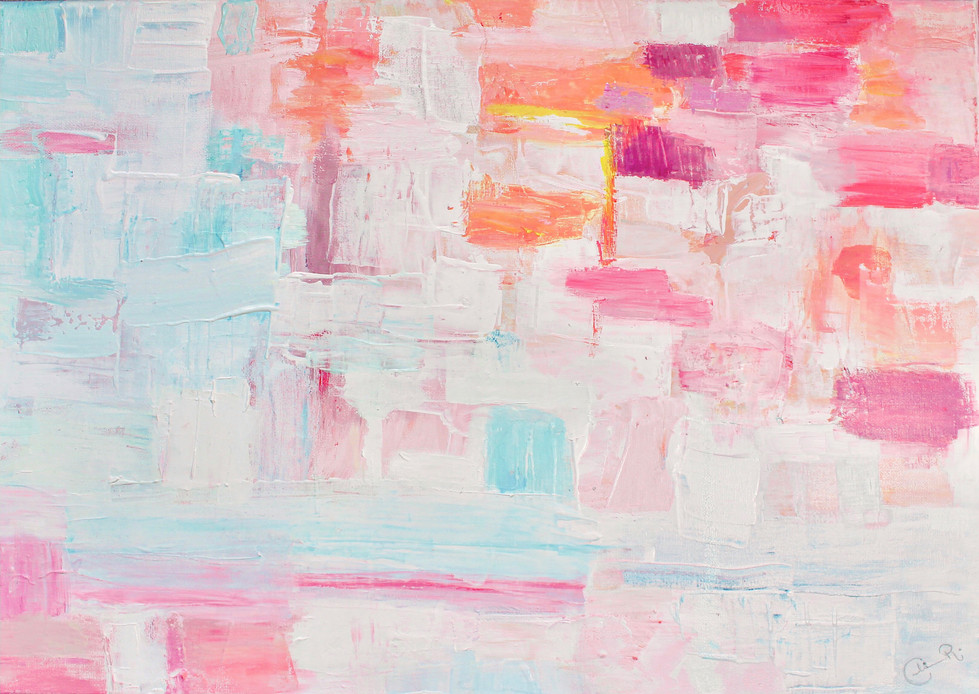 Pink abstract Oil paint on canvas 30x40cm