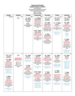 Rehearsal Calendar