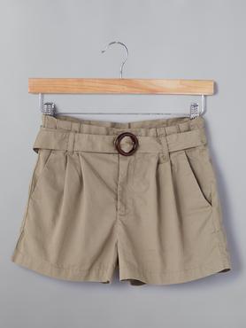 Beige Shorts With Buckel Belt