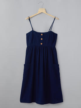 Midnight Blue Dress With Patch Pockets