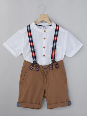 Dobby Shirt And Shorts With Suspenders