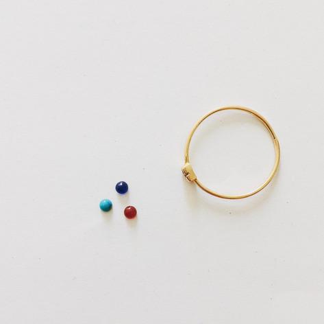Bague et ses pierres au choix, saphir, turquoise, grenat