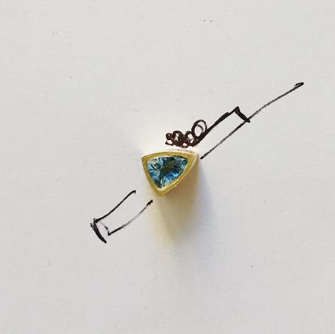 Bague avec diamants et aigues marines en or 750/1000