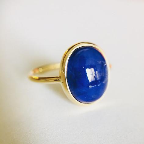Bague transformée en or 750, lapis lazuli