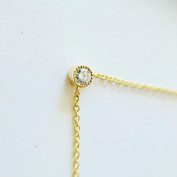 Collier diamant serti milegrain, or 750/1000