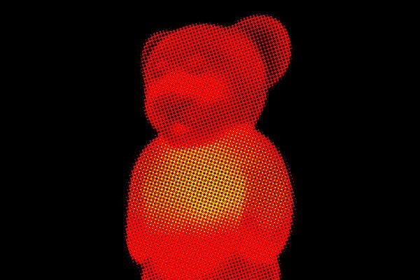 Halftone Illuminated teddy Bear