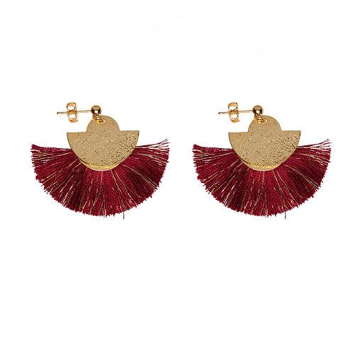 Boucles d'oreilles POMPOM rouge Bordeaux