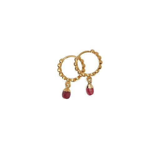 Mini créoles Amulette rubis