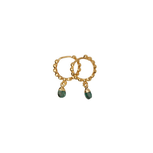 Mini créoles Amulette Emeraude