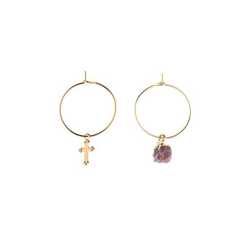 Boucles d'oreilles Stone rubis