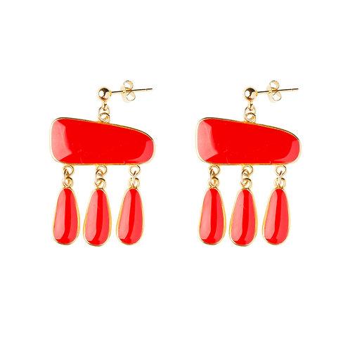 Boucles d'oreilles Antigua rouge