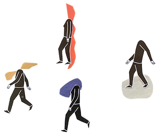 a collage of headless people who's mind is therefore silent but their soul is visible