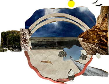 A collage that displays the continous circle of the elements air, water, fire and earth