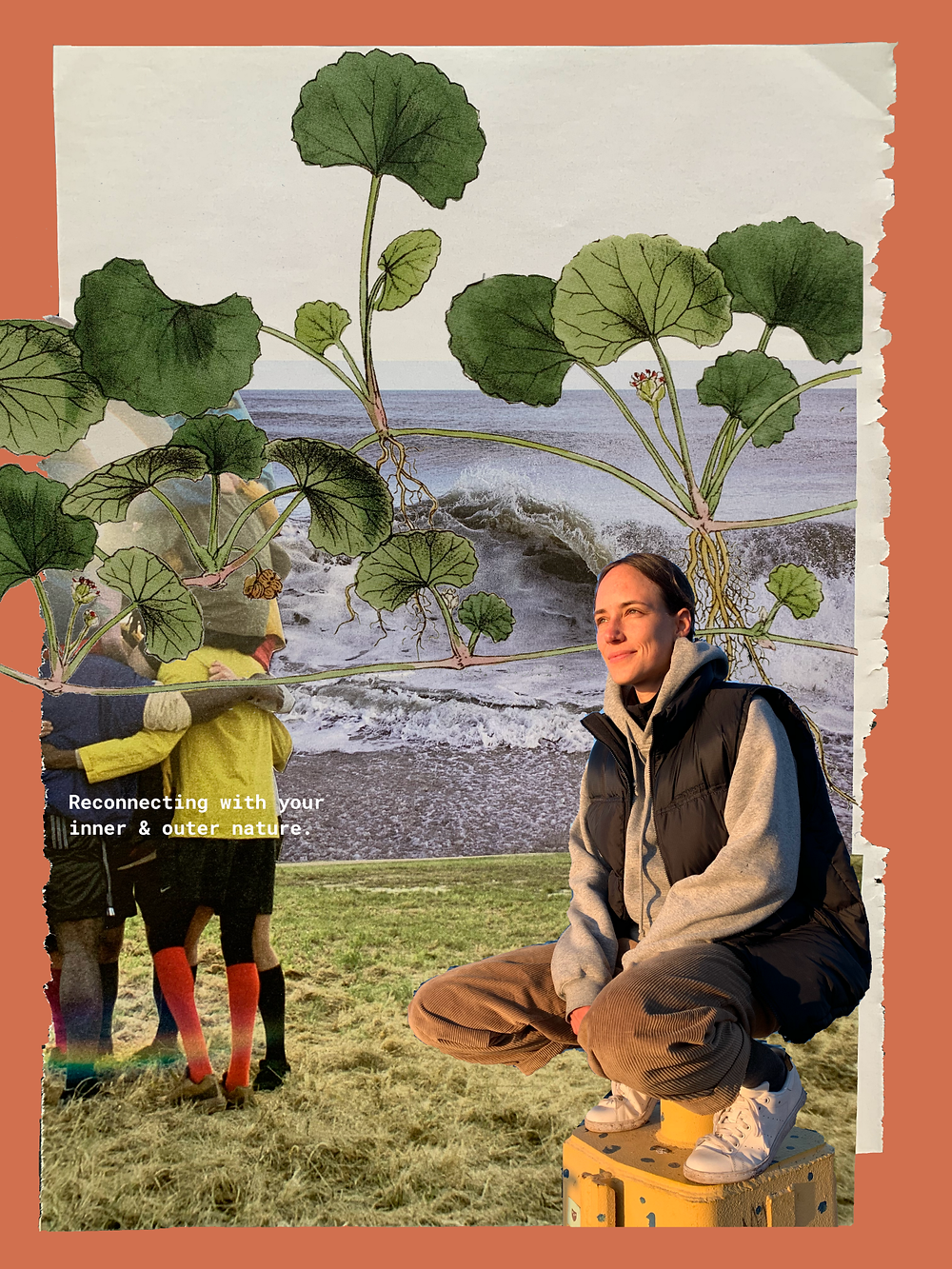 Collage of Olivia Köhler as a nature therapist in reciprocity to the given nature and in connection to other people