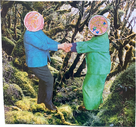 A collage of two people connecting by holding hands and spinning in a forest with happy minds
