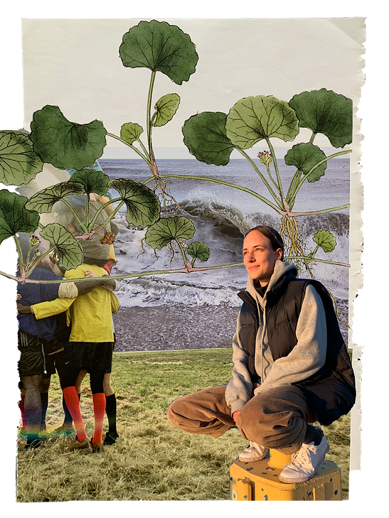 A collage showing Olivia Köhler as a nature therapist in Berlin in connection to the landscape around, to the sea and to other people