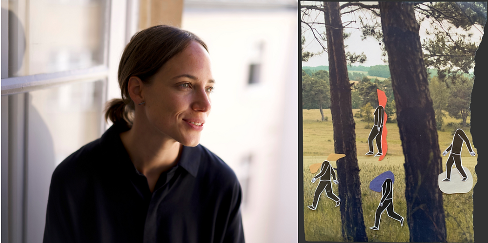 A portrait of Olivia Köhler in the office and one of her collages with people in the forest doing a nature therapy session