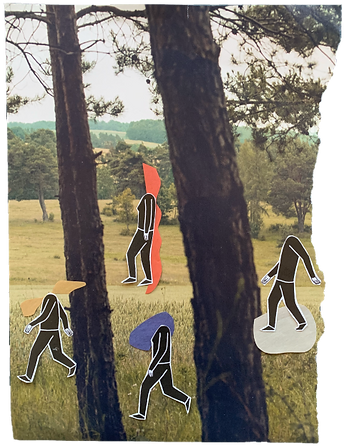 A collage of people walking in the forest and on a meadow with colorful shapes that visualize their soul