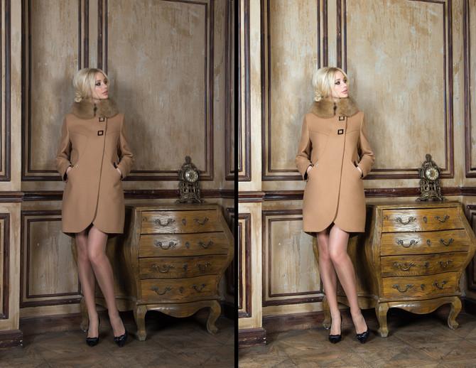 """Немного """"До"""" и """"После"""" на примере каталожной фотосъёмки пальто для фирмы Dekka."""
