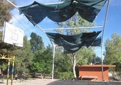 Rehabilitación de malla sombra y construcción de estructura faltante.