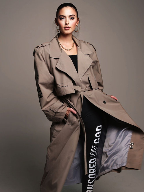 "SBG-HSI Oversized ""Know Thyself"" Trench Coat"