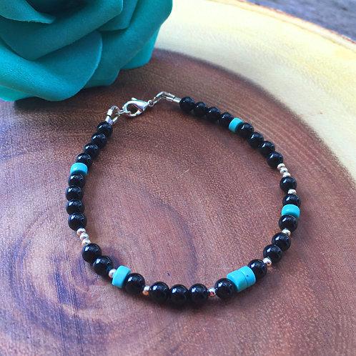 """""""INSPIRE"""" Black Chakra Bracelet ~ Silver"""